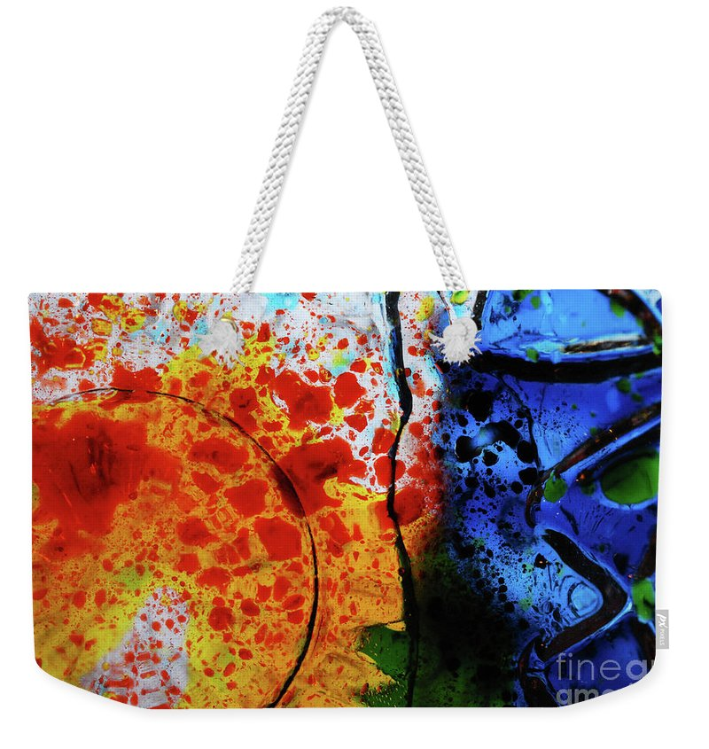 Water Weekender Tote Bag featuring the photograph Primary Crystal Abstract by Nancy Mueller