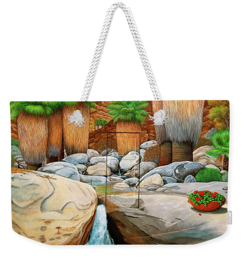 Landscape Weekender Tote Bag featuring the painting Primary Escape Route by Snake Jagger