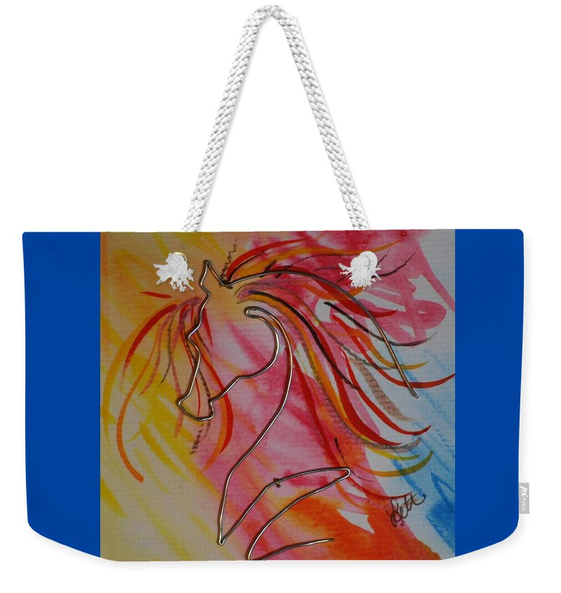 Horse Weekender Tote Bag featuring the painting Primary Horse by Leitha Stone