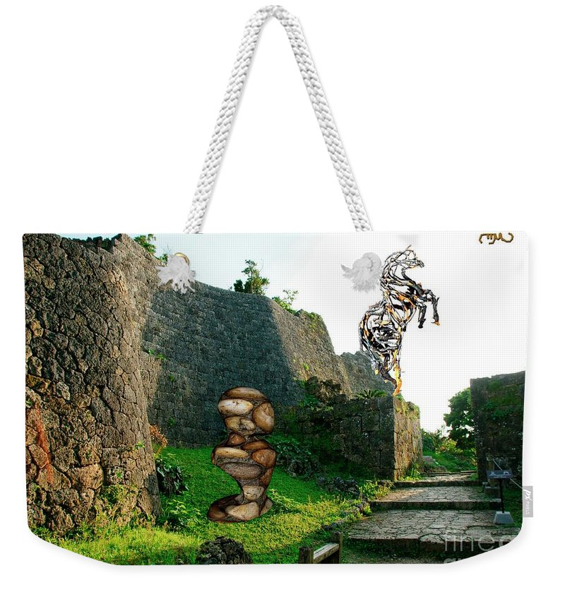 Modern Painting Weekender Tote Bag featuring the mixed media Primitive Statues by Pemaro