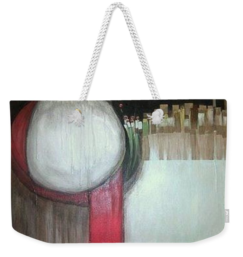 Abstract Weekender Tote Bag featuring the painting Primordial by Marlene Burns