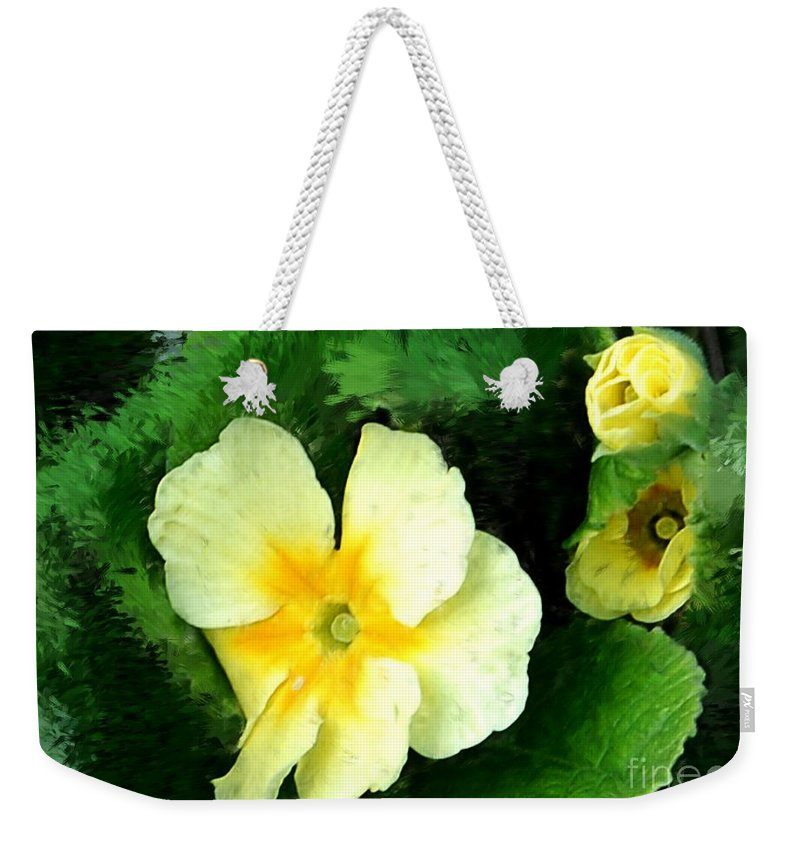 Digital Photograph Weekender Tote Bag featuring the photograph Primrose 2 by David Lane