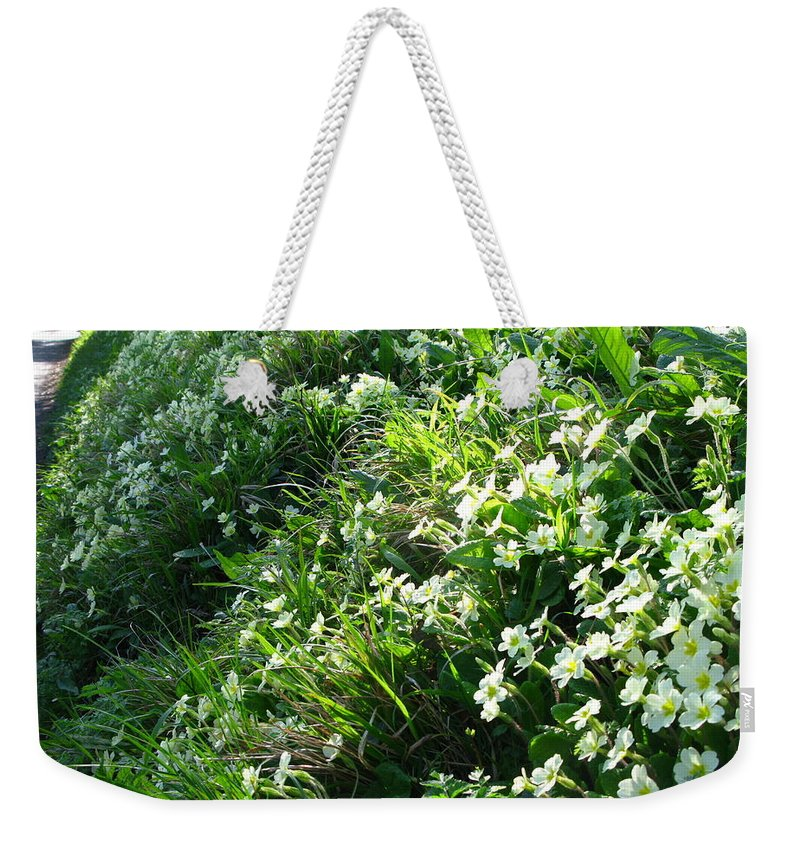 Primroses Weekender Tote Bag featuring the photograph Primroses by Maria Joy