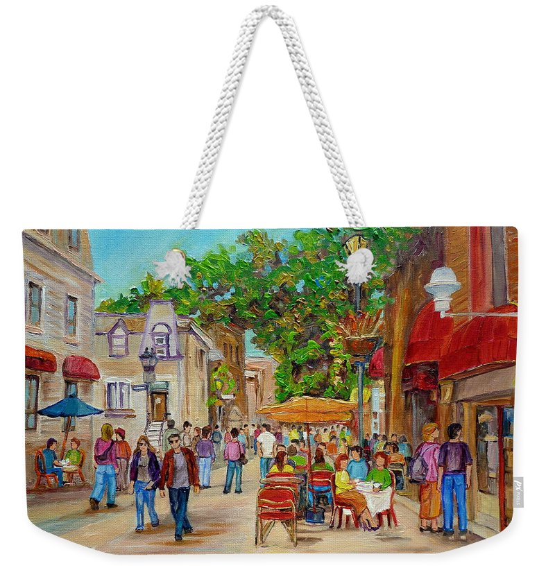 Montreal Weekender Tote Bag featuring the painting Prince Arthur Restaurants Montreal by Carole Spandau