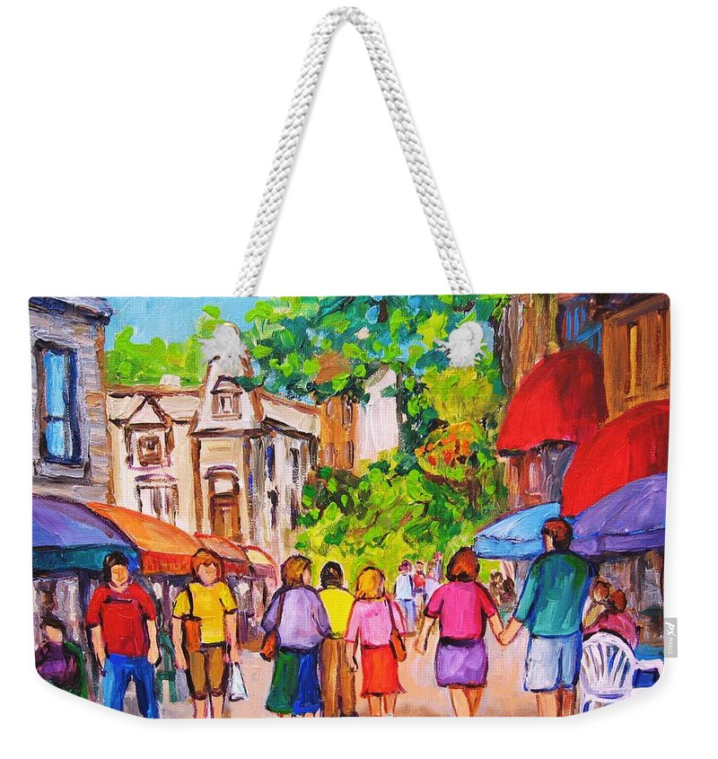 Rue Prince Arthur Montreal Street Scenes Weekender Tote Bag featuring the painting Prince Arthur Street Montreal by Carole Spandau