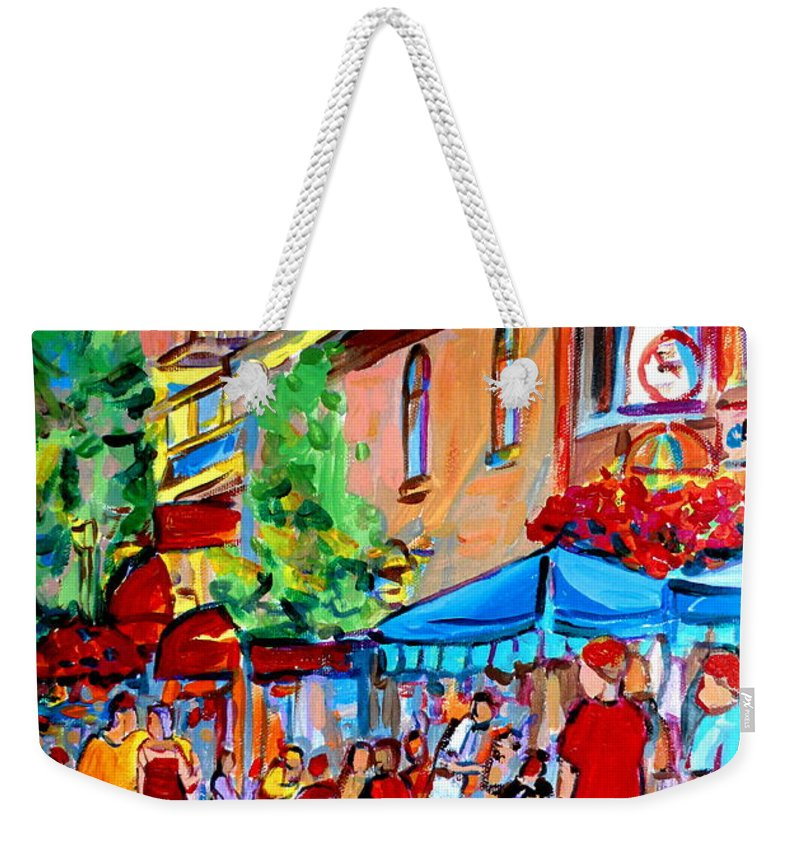 Cafes Weekender Tote Bag featuring the painting Prince Arthur Street Summer by Carole Spandau