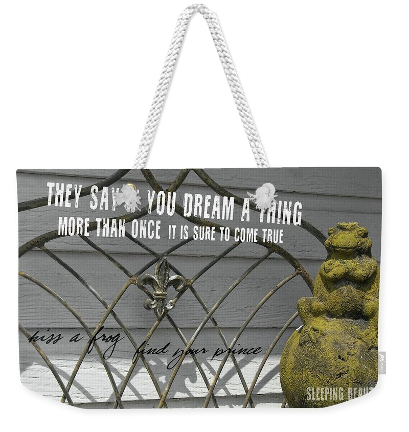 Frog Weekender Tote Bag featuring the photograph Prince Charming Quote by JAMART Photography