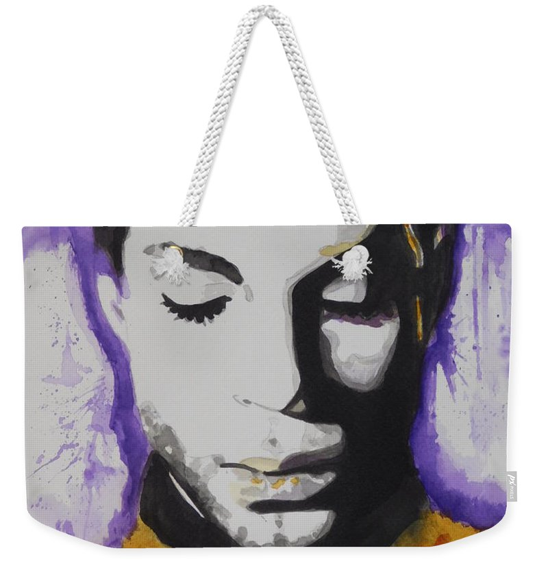 Watercolor Painting Weekender Tote Bag featuring the painting Prince by Chrisann Ellis