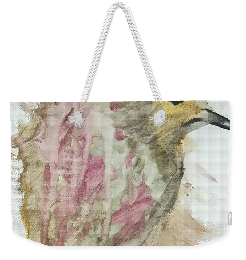 Bird Weekender Tote Bag featuring the painting Prince by Kaleidoscope Arts