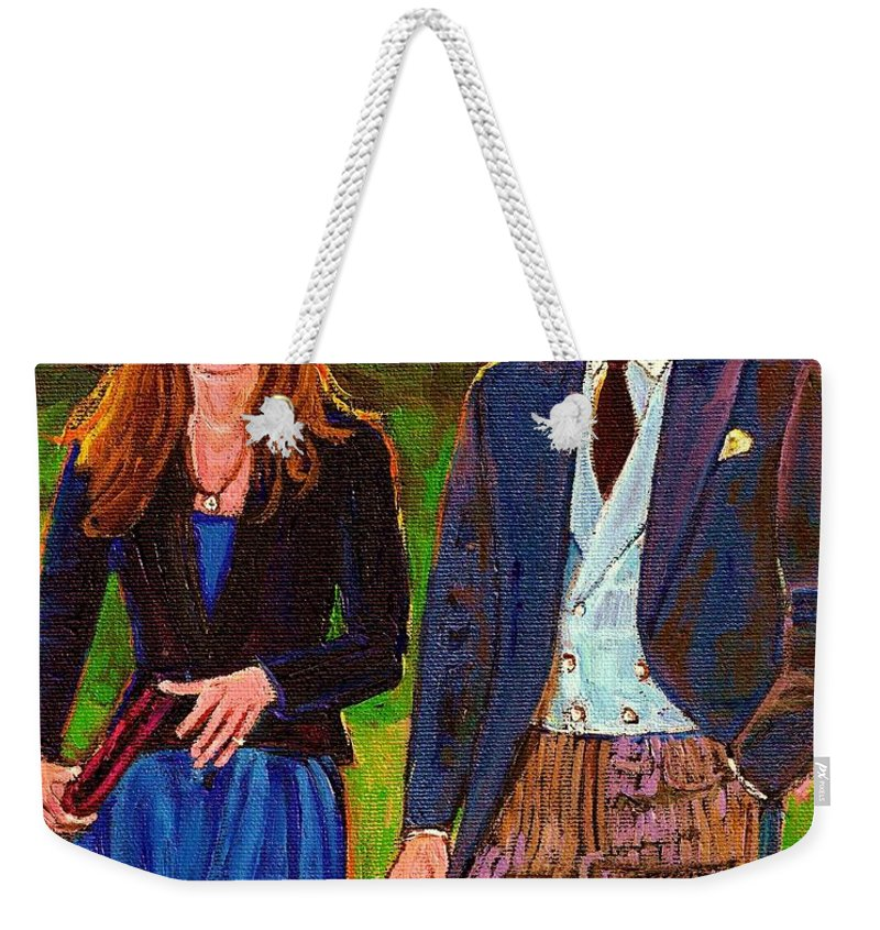 Wills And Kate Weekender Tote Bag featuring the painting Prince William And Kate The Young Royals by Carole Spandau