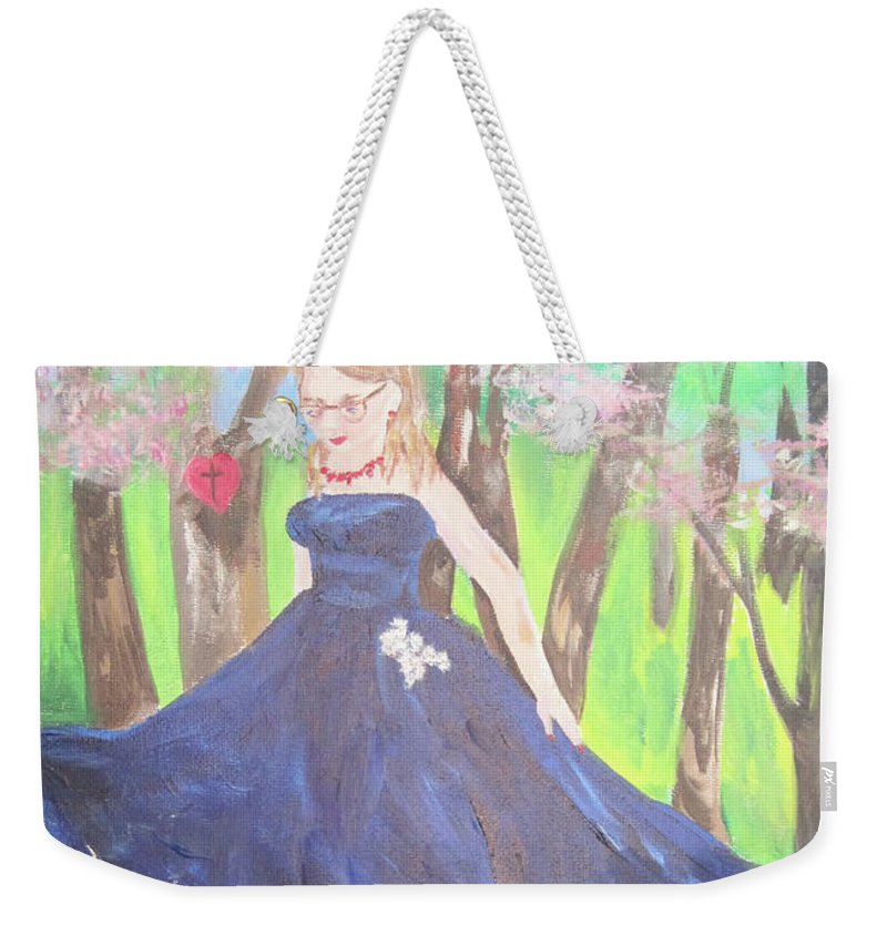 Woods Weekender Tote Bag featuring the painting Princess In The Forest by Linda Watson