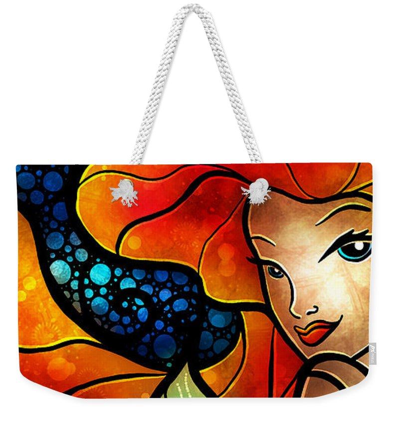 Girl Weekender Tote Bag featuring the digital art Princess Of The Seas by Mandie Manzano