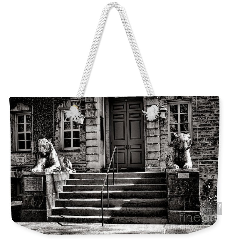 Princeton Weekender Tote Bag featuring the photograph Princeton University Nassau Hall Tigers by Olivier Le Queinec