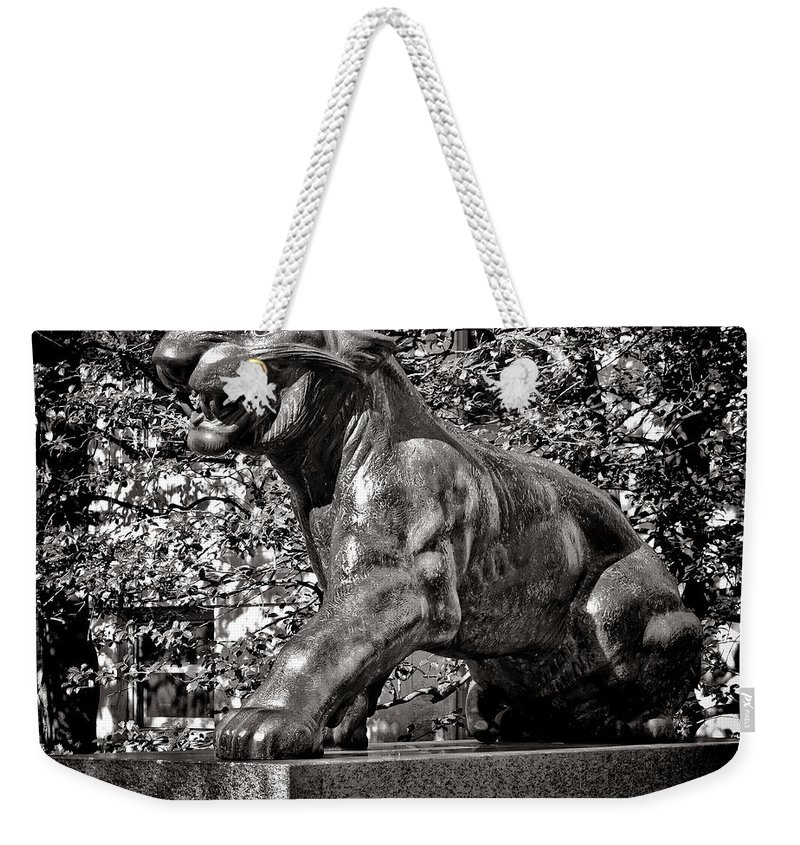 Princeton Weekender Tote Bag featuring the photograph Princeton University Tiger Sculture by Olivier Le Queinec
