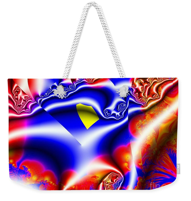 Fractal Weekender Tote Bag featuring the digital art Printed Crinkled Chiffon One by Ron Bissett