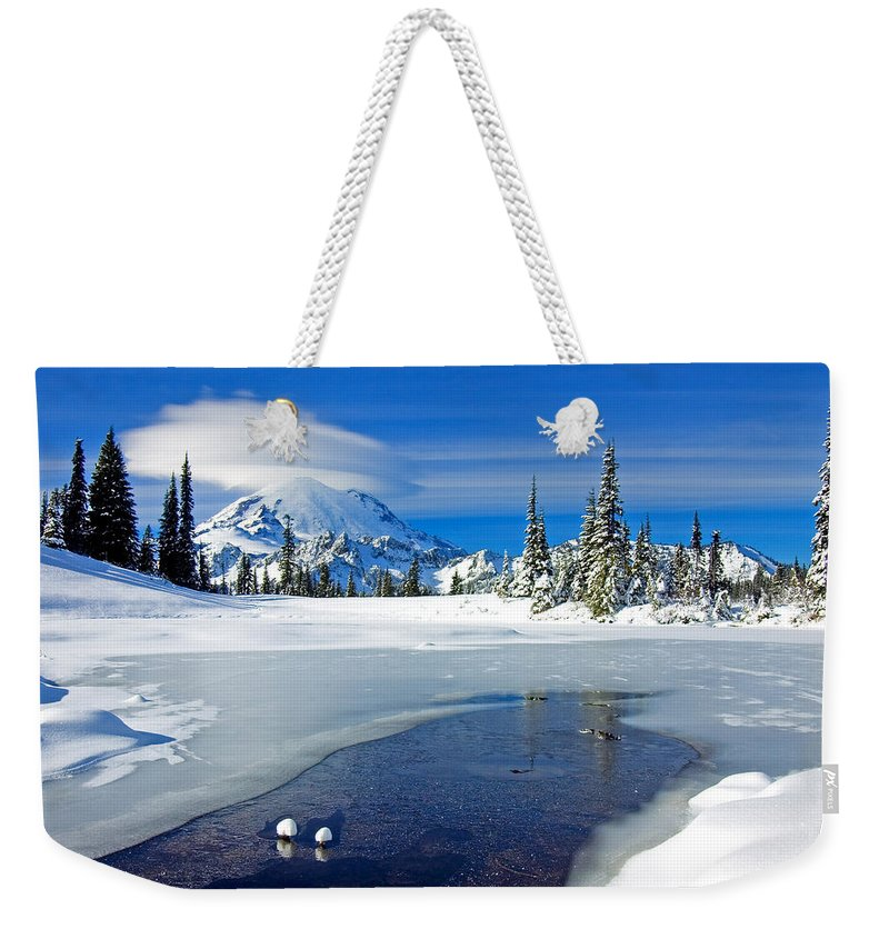 Rainier Weekender Tote Bag featuring the photograph Pristine by Mike Dawson