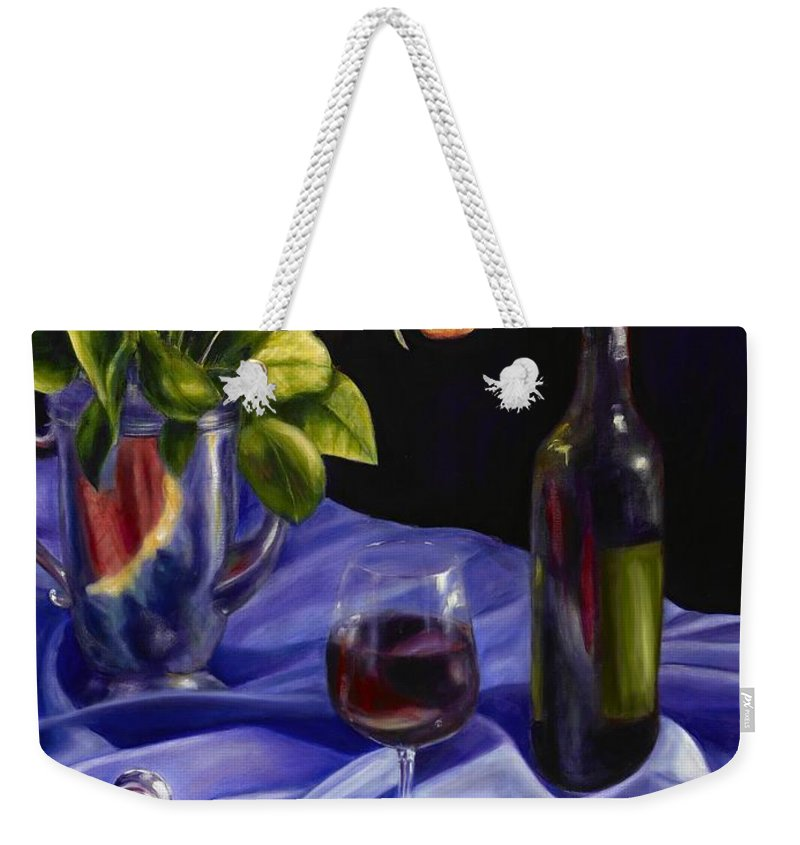 Still Life Weekender Tote Bag featuring the painting Private Label by Shannon Grissom