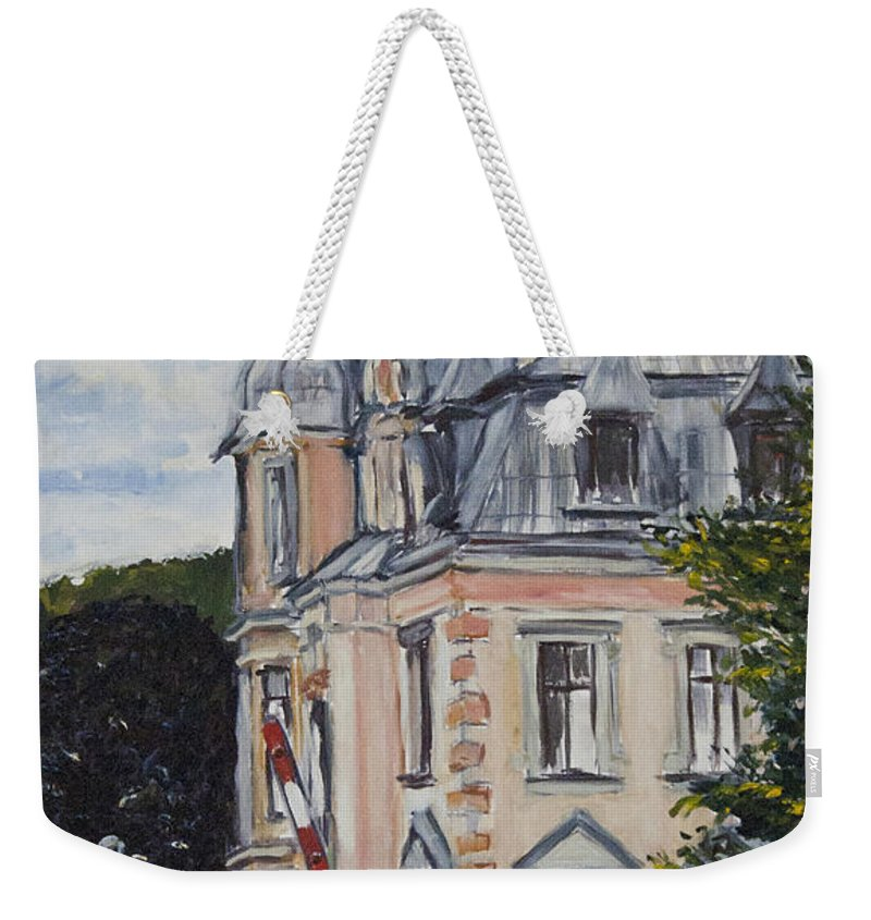 Landscape Weekender Tote Bag featuring the painting Pro Katcha by Pablo de Choros