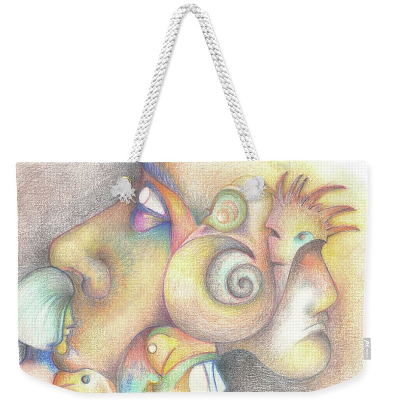 Abstract Weekender Tote Bag featuring the drawing Profile by Bodhi