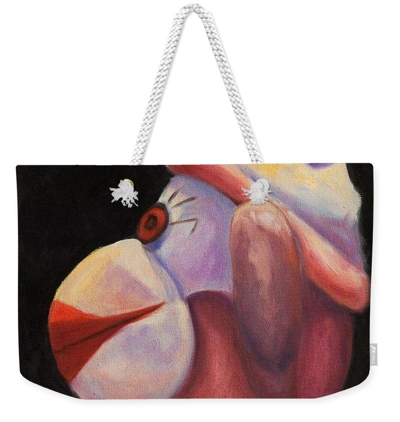 Monkey Weekender Tote Bag featuring the painting Profile by Shannon Grissom
