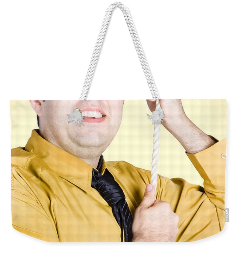 Promotion Weekender Tote Bag featuring the photograph Promoted Employee Climbing Up Corporate Rope by Jorgo Photography - Wall Art Gallery