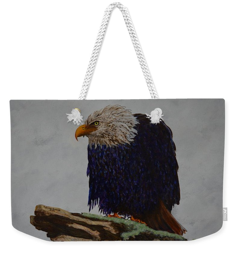 Eagle Weekender Tote Bag featuring the painting Prophetic Hunch by Alana Sheehy