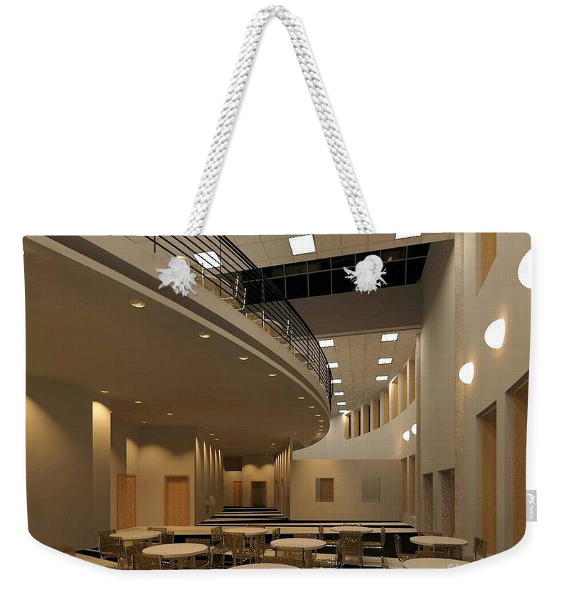 Lobby Rendering Weekender Tote Bag featuring the digital art Proposed Performing Arts Lobby by Ron Bissett