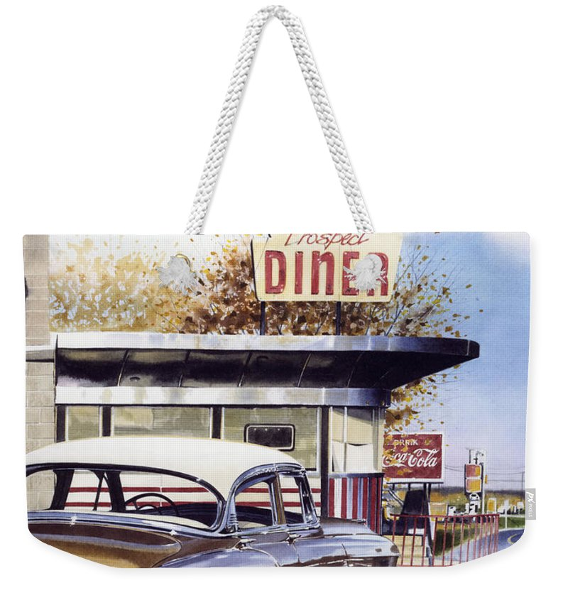 Diner Weekender Tote Bag featuring the painting Prospect Diner by Denny Bond