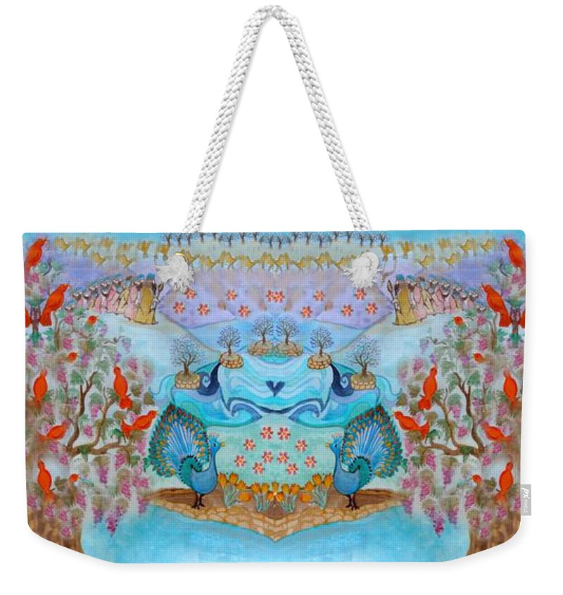 Tree Of Life Weekender Tote Bag featuring the painting Prosperity And Blessing by Sandrine Kespi