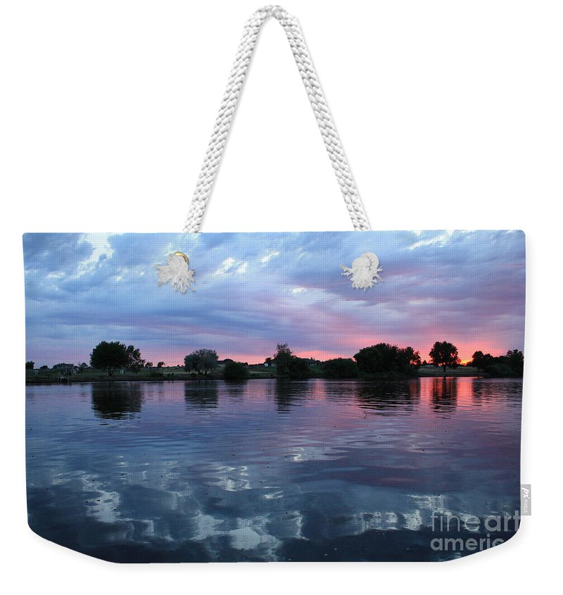 Sunset Weekender Tote Bag featuring the photograph Prosser Pink Sunset 5 by Carol Groenen