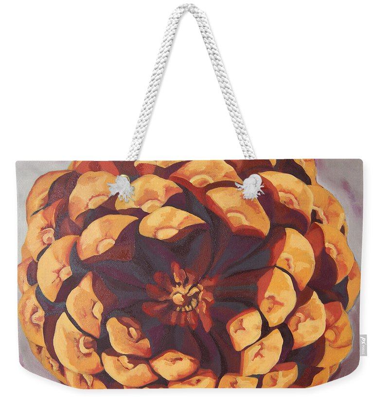 Pine Cone Weekender Tote Bag featuring the painting Protected by Erin Fickert-Rowland