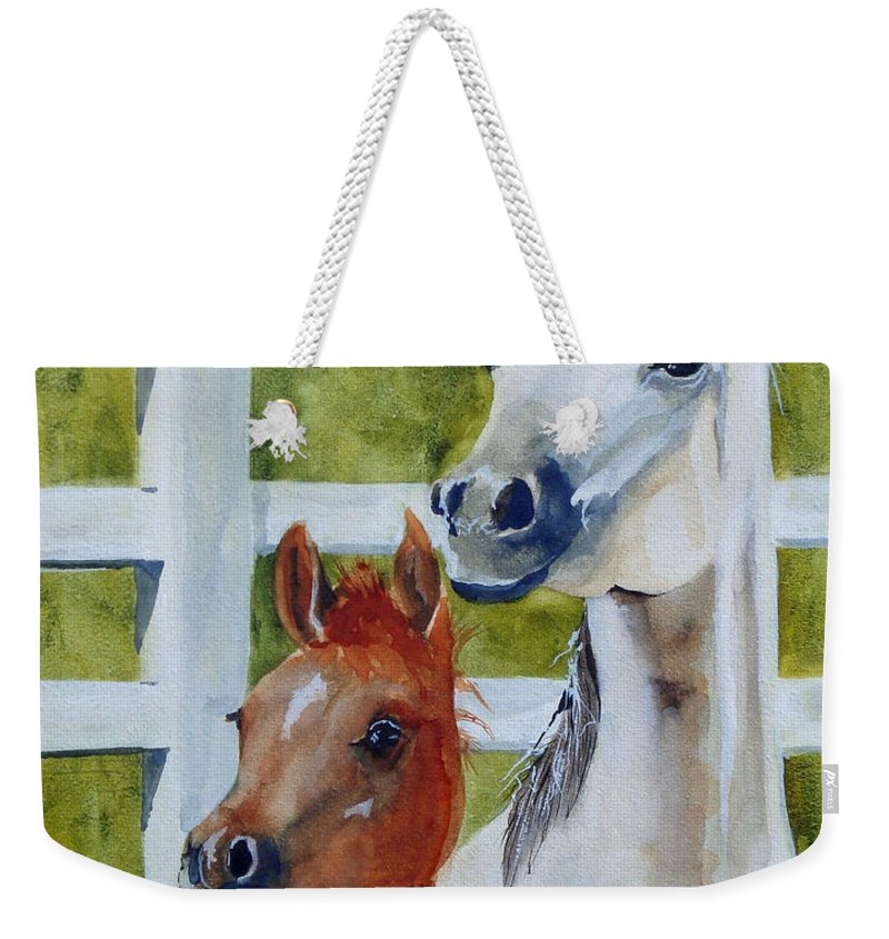 Equine Weekender Tote Bag featuring the painting Proud Mama by Jean Blackmer