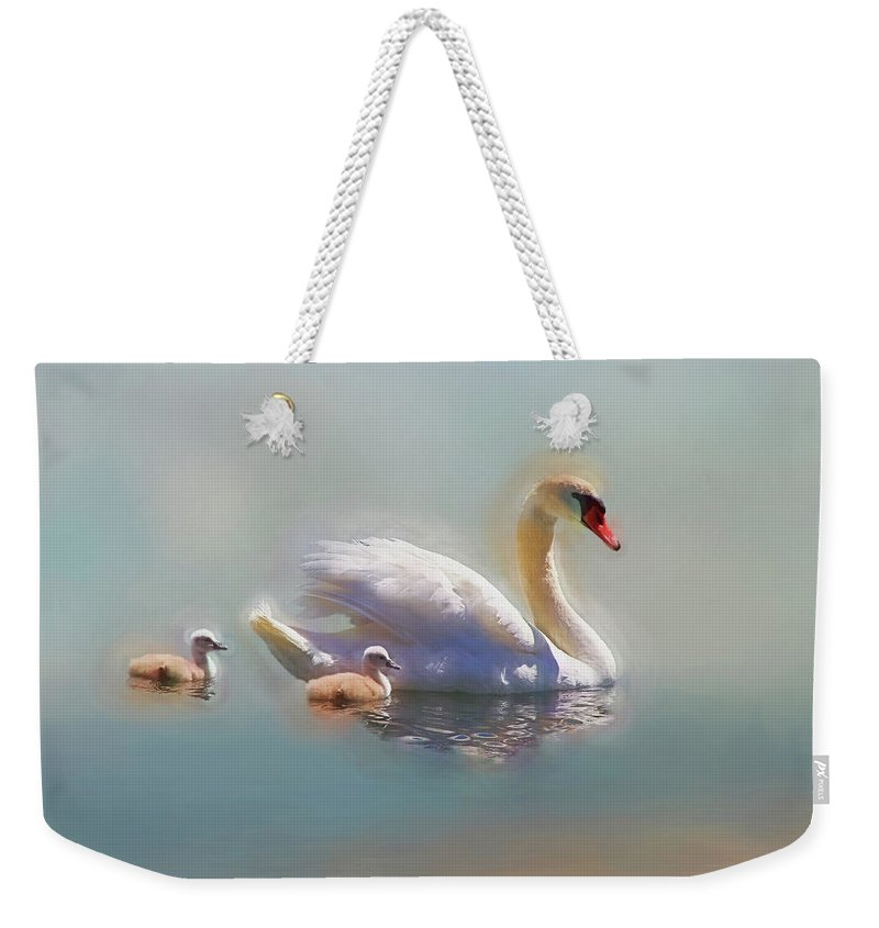 Swan Weekender Tote Bag featuring the photograph Proud Mom by Donna Kennedy