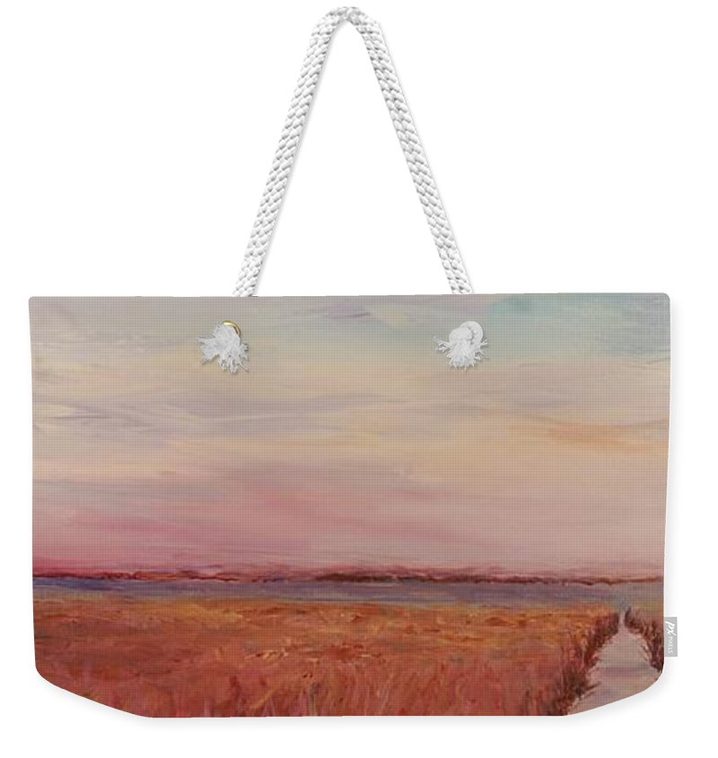 Landscape Weekender Tote Bag featuring the painting Provence Camargue by Nadine Rippelmeyer