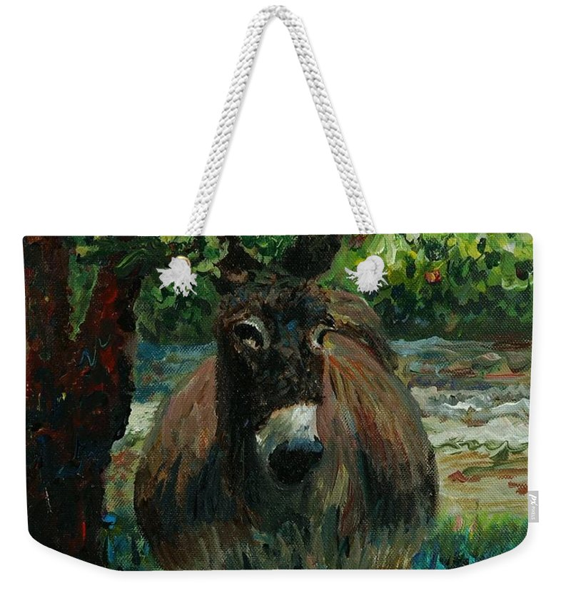 Donkey Weekender Tote Bag featuring the painting Provence Donkey by Nadine Rippelmeyer