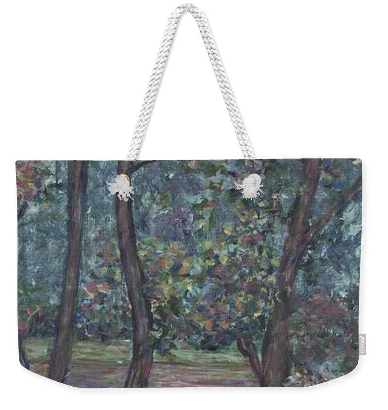 Landscape Weekender Tote Bag featuring the painting Provence Flowers by Nadine Rippelmeyer