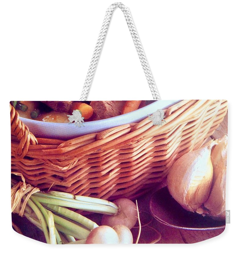 Weekender Tote Bag featuring the photograph Provence Kitchen Shallots by Jacqueline Manos
