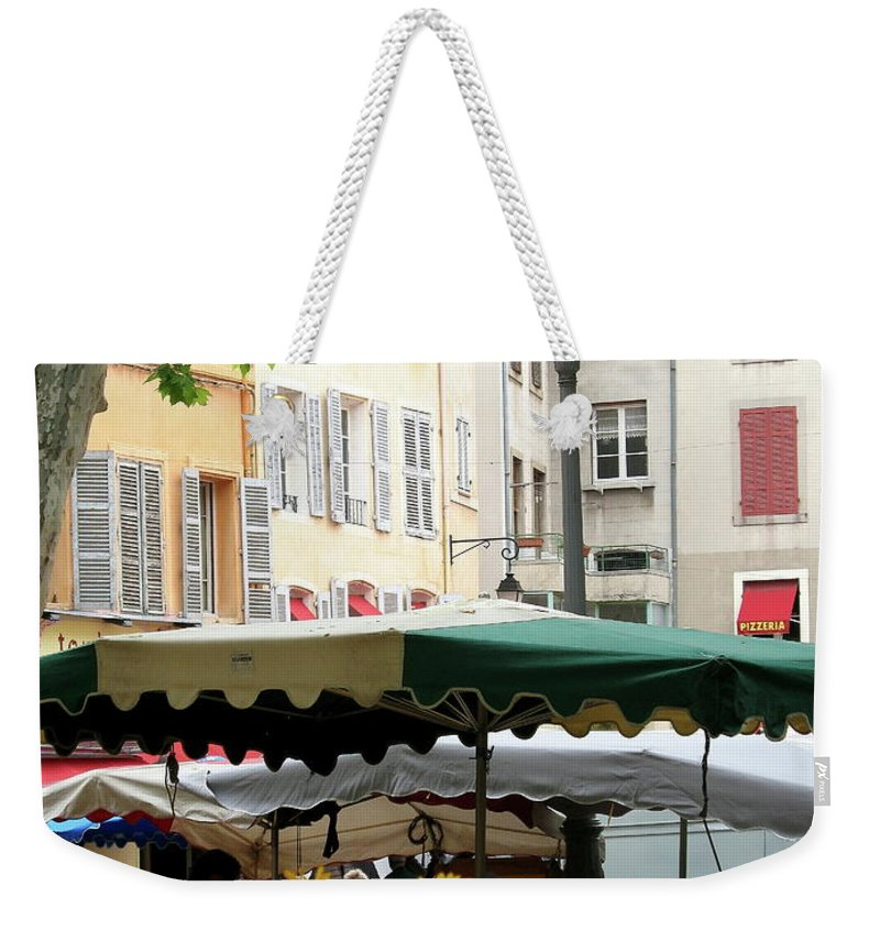 Market Weekender Tote Bag featuring the photograph Provence Market Day by Christiane Schulze Art And Photography
