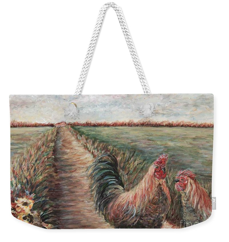 Provence Weekender Tote Bag featuring the painting Provence Roosters by Nadine Rippelmeyer