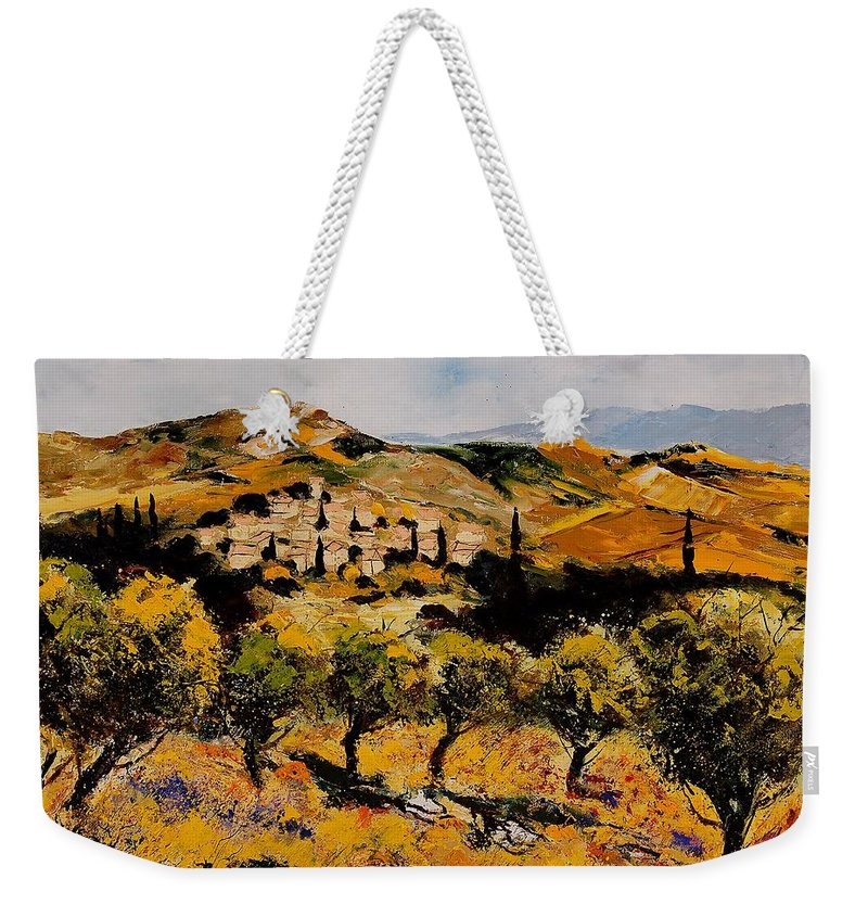 Provence Weekender Tote Bag featuring the painting Provence10080 by Pol Ledent
