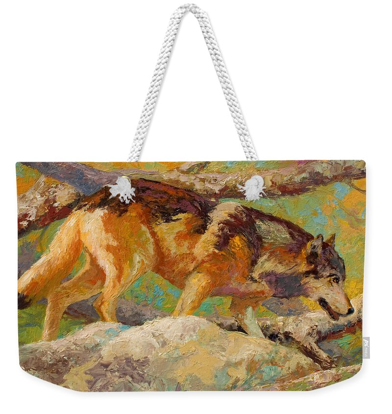 Wolf Weekender Tote Bag featuring the painting Prowler - Grey Wolf by Marion Rose