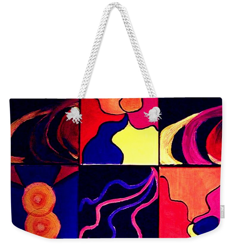 Abstract Weekender Tote Bag featuring the painting Psychedelia by Rusty Gladdish