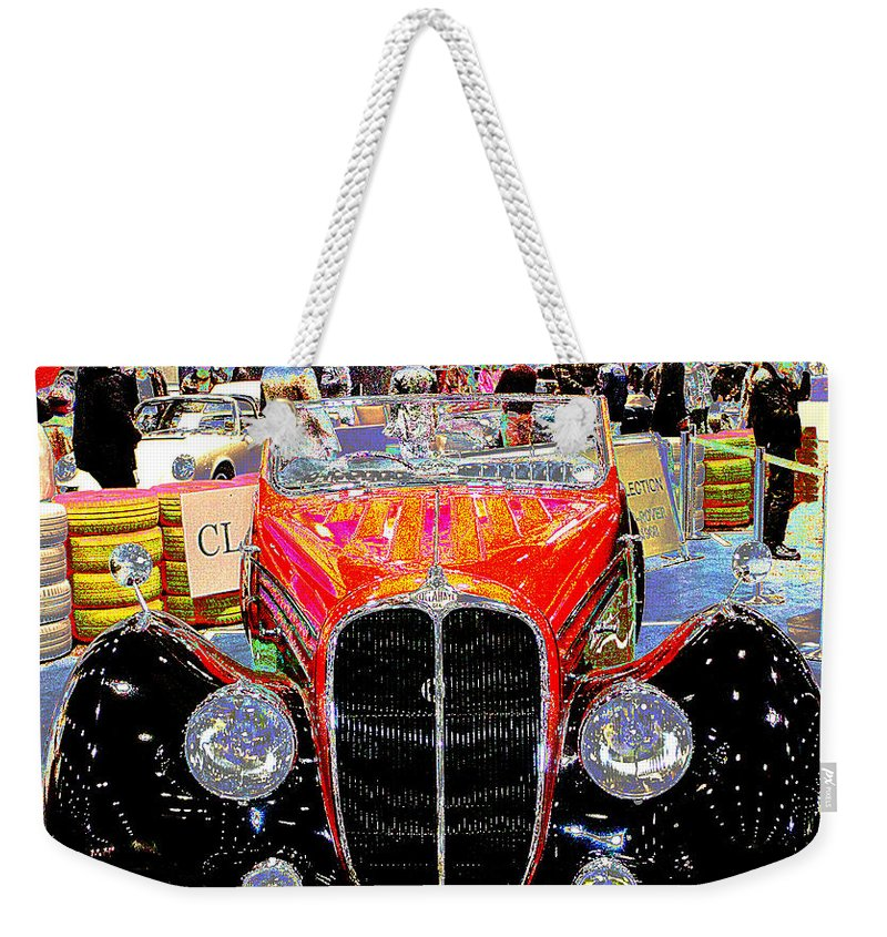 Psychedelic Weekender Tote Bag featuring the photograph Psychedelic 1947 Delahaye 135m Letourner Et Marchand Cabriolet by Peter Lloyd