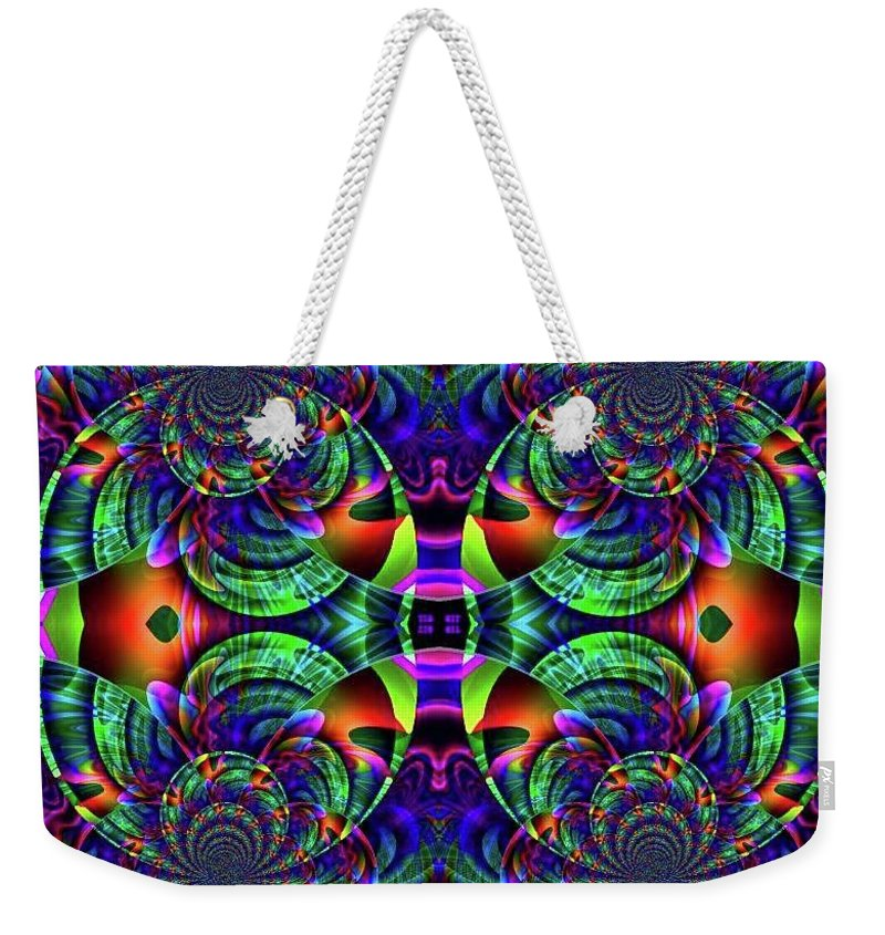 Abstract Surrealism Fantasy Digital Weekender Tote Bag featuring the digital art Psychedelic Abstract Kaleidoscope by Ted Duvall
