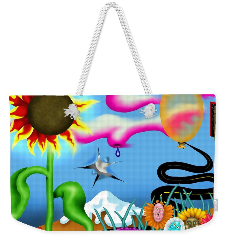 Surrealism Weekender Tote Bag featuring the digital art Psychedelic Dreamscape I by Robert Morin