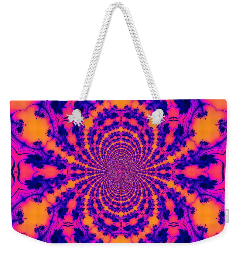 Abstract Surrealism Fantasy Digital Weekender Tote Bag featuring the digital art Psychedelic Mandelbrot Set Kaleidoscope by Ted Duvall