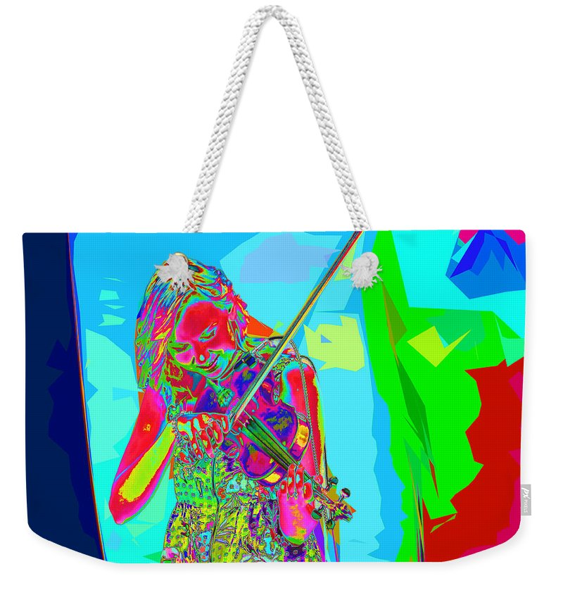 Violin Weekender Tote Bag featuring the photograph Psychedelic Violinist by C H Apperson