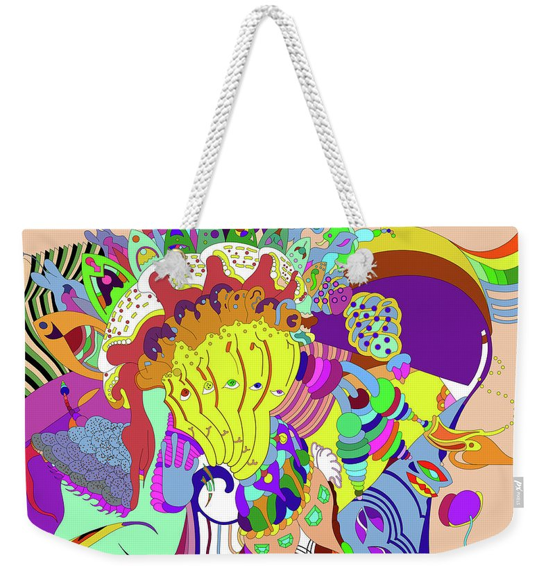 Weekender Tote Bag featuring the digital art Psychedellic Pinch by Charles Raimondo