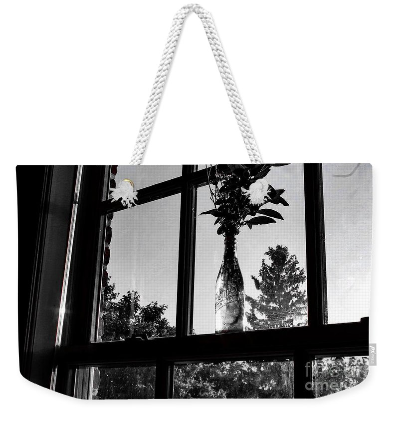 Window Weekender Tote Bag featuring the photograph Pt 2 Flowers On A Windowsill by Taylor McLaurin