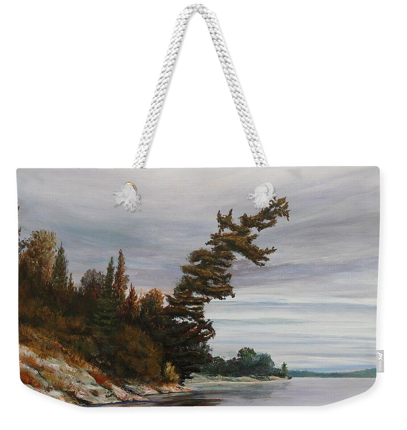 Landscape Weekender Tote Bag featuring the painting Ptarmigan Bay by Ruth Kamenev